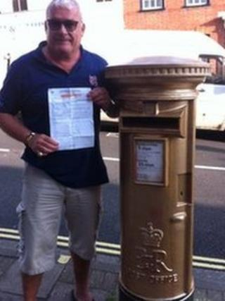 Rob Smith and gold post box