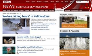 Science website page