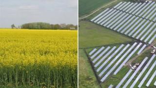 Farmland, Newborough and solar farm