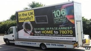 """Home Office van bearing the slogan """"In the UK illegally? Go home or face arrest"""""""