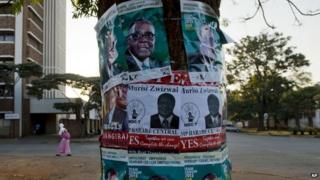 Election posters in Harare 30 July 2013