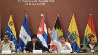 Leaders of Venezuela, Bolivia, Ecuador and Nicaragua at Alba summit, 30 July 2013