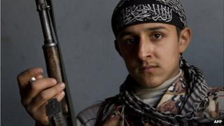 A young fighter of the jihadist group Al-Nusra Front
