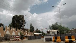 Checkpoint leading to the US embassy in Sanaa