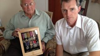 WWII veteran Dennis Moss with MP David Davies