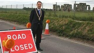 The Mayor of Amesbury, Ian Mitchell, on the A344
