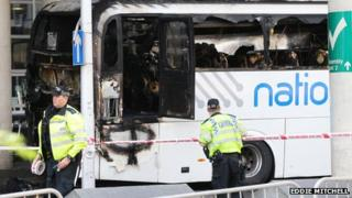 Coach fire at Gatwick Airport