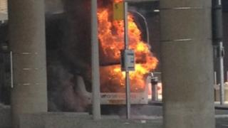 Coach on fire at Gatwick Airport