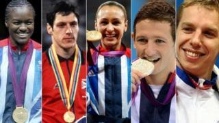 Nicola Adams, Allan Wells, Jessica Ennis-Hill, Michael Jamieson and David Carry
