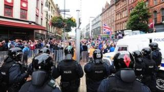 Police faced a large protest in Belfast city centre on Friday