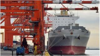 Ship being unloaded in Tokyo