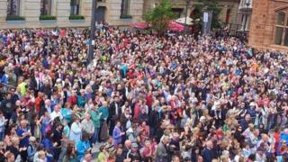 crowd at Guildhall Square