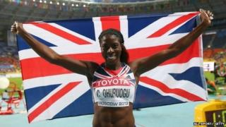 Christine Ohuruogu of Great Britain celebrates winning gold