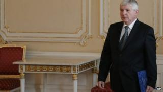 Czech PM Jiri Rusnok arrives at presidential castle to hand in his resignation
