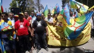 Amazigh protesters in front of the General National Congress (GNC) in Tripoli (13 August 2013)