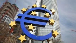 Euro logo is seen in front of the European Central bank