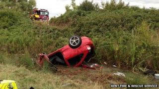 Car upside down in ditch
