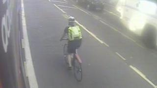 CCTV view of the cyclist