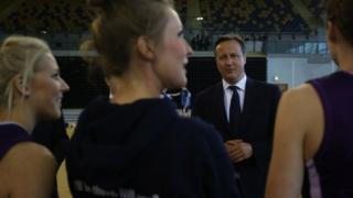 Prime Minister David Cameron visits the Commonwealth Games centre at the Emirates Arena in Glasgow