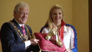 Mr Egginton with Rebecca Adlington