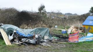 Burnt out caravan in Wyke Regis