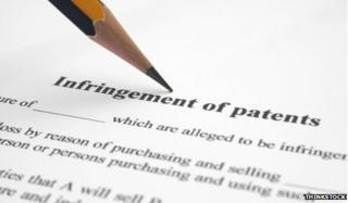 Pencil and patent infringement document