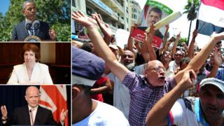 Composite photo: Barack Obama, Catherine Ashton, William Hague, Egyptian pro-Morsi protestors