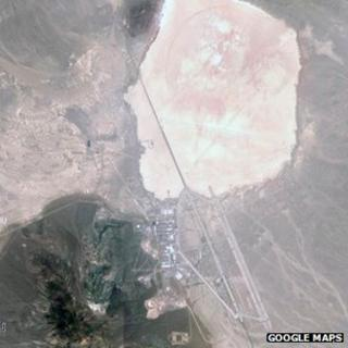 Satellite image of Groome Lake and area 51