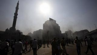 Morsi supporters outside al-Fath mosque, Cairo