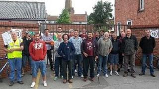 Striking postal workers in Bridgwater