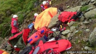 Mountain rescue volunteers at the scene