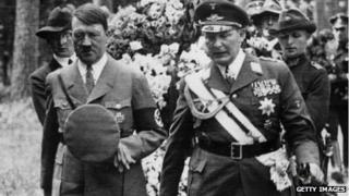 Adolf Hitler (left) and Hermann Goering (right)
