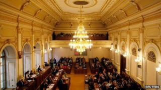 Parliament in session in Prague on 20 August 2013