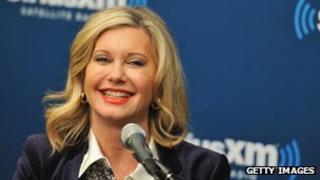 Olivia Newton-John answers questions at SiriusXM's studios in New York City 12 December 2012