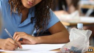 Girl sitting an exam