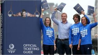 Sir Chris Hoy (second left) helps launch the Official Ticketing guide with athletes (Left to right) Jade Nimmo, Colin Gregor and Susan Egelstaff