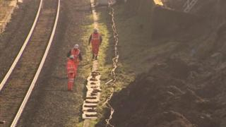 Engineers working on railway line