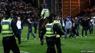 PNE v Blackpool pitch invasion