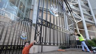 Gates being reinstalled at St James' Park
