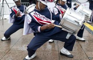 Band members rehearse before the march in Washington, 23 August