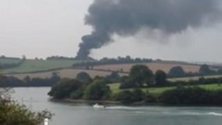 Smoke coming from the tanker fire