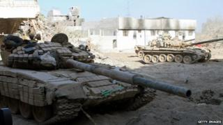 Syrian army tank in Damascus after alleged chemical attacks