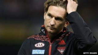 Bombers coach James Hird on 14 July 2013 in Melbourne, Australia