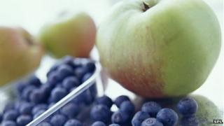 Blueberries and apples
