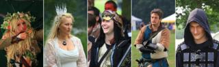 Composite of five LARP players. Photo by Andy Law
