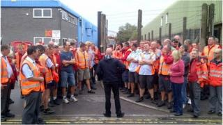 Striking postal workers in Weston-super-Mare