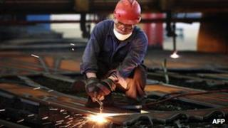 Worker at a steel factory in China