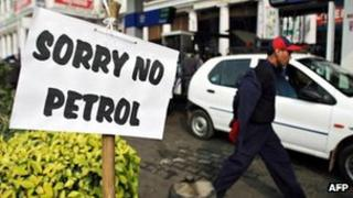 A no petrol sign outside a fuel station in India