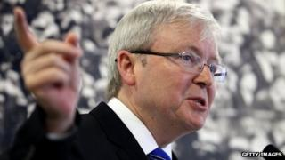 Australian Prime Minister Kevin Rudd speaks in Perth on 30 August