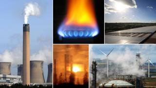 Composite photo: Some power plants, a gas stove, solar energy panels, and some wind turbines